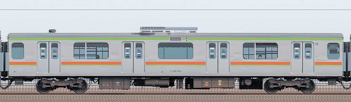 JR東日本209系モハ208-3101山側の側面写真