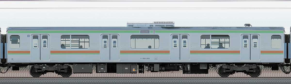 JR東日本209系モハ208-3101海側の側面写真