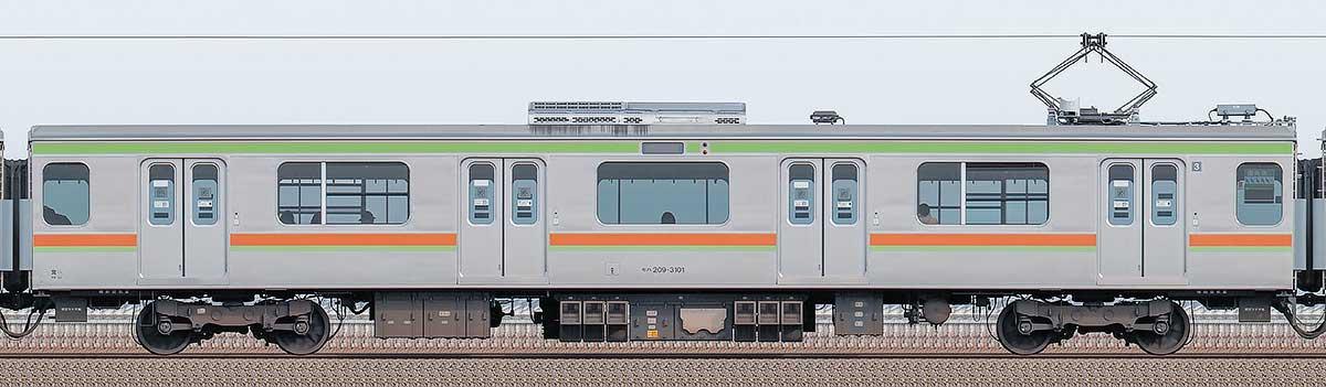 JR東日本209系モハ209-3101山側の側面写真