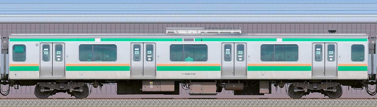 JR東日本E231系モハE230-1110海側の側面写真