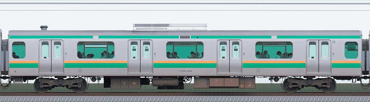 JR東日本E231系モハE230-3562山側の側面写真