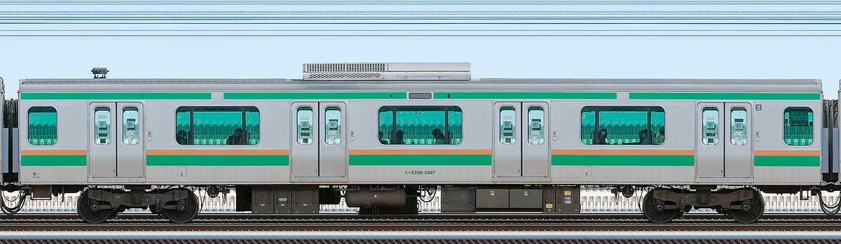 JR東日本E231系モハE230-3587山側の側面写真
