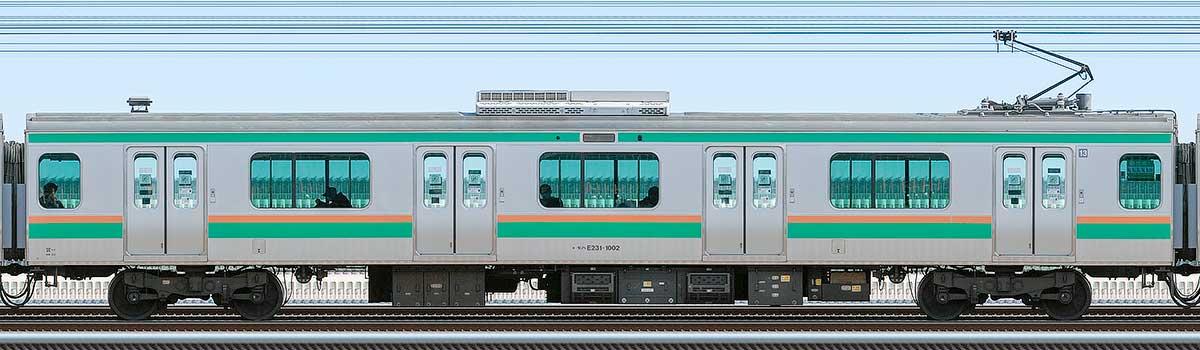 JR東日本E231系モハE231-1002山側の側面写真