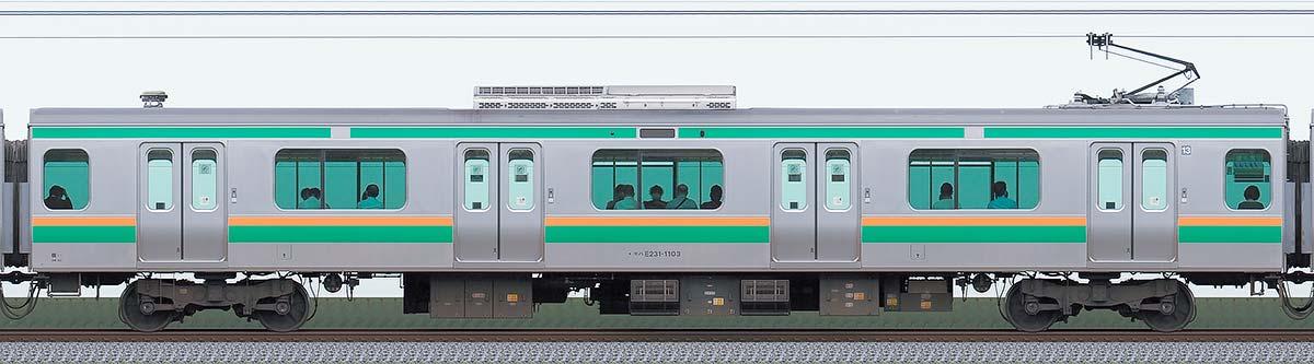 JR東日本E231系モハE231-1103山側の側面写真