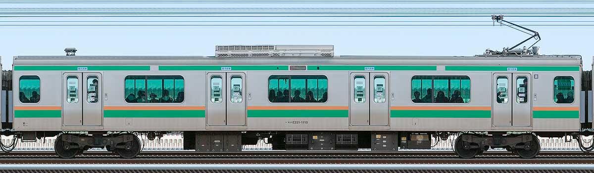 JR東日本E231系モハE231-1110山側の側面写真