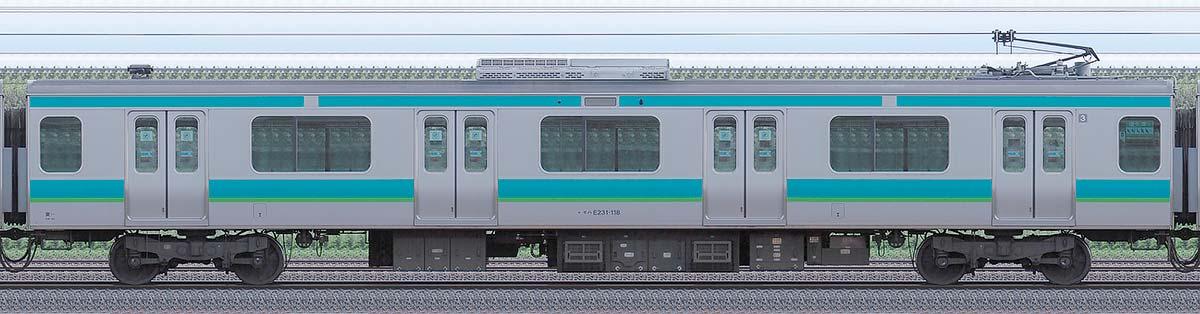 JR東日本E231系モハE231-118山側の側面写真