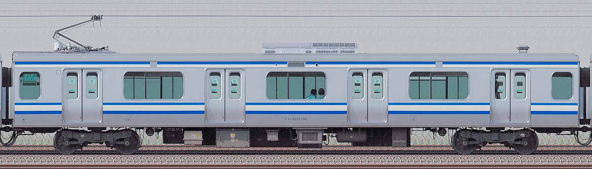 JR東日本E231系モハE231-139「成田線開業120周年記念列車」海側の側面写真