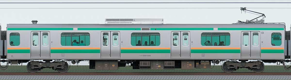 JR東日本E231系モハE231-1542山側の側面写真