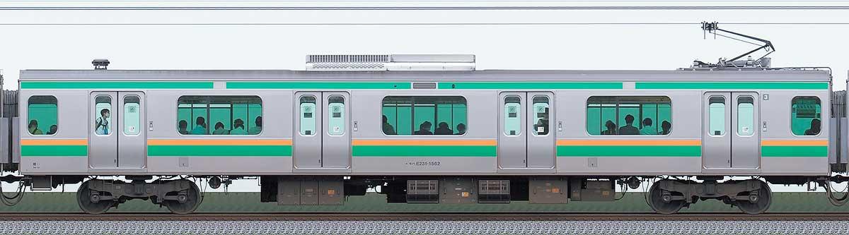 JR東日本E231系モハE231-1562山側の側面写真