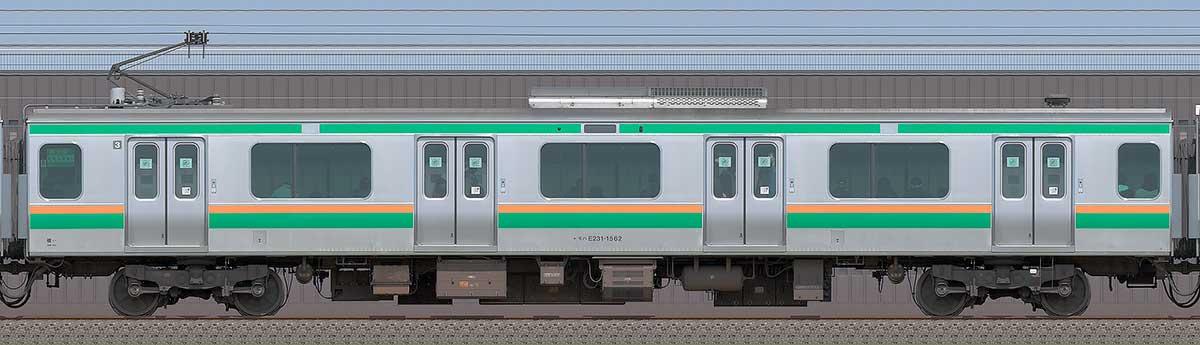 JR東日本E231系モハE231-1562海側の側面写真