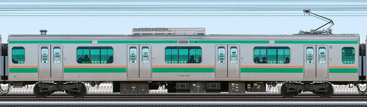 JR東日本E231系モハE231-1587山側の側面写真