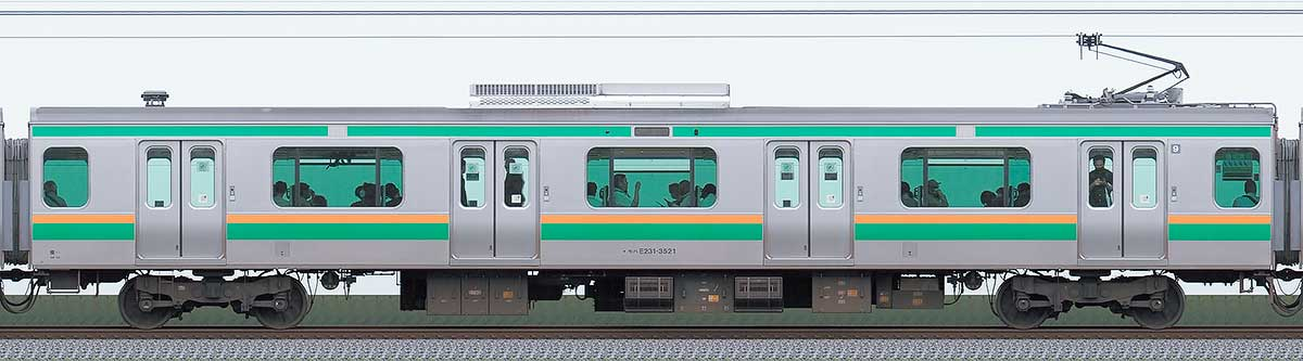 JR東日本E231系モハE231-3521山側の側面写真