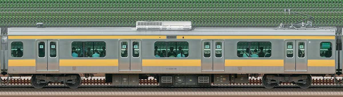 JR東日本E231系モハE231-70山側の側面写真
