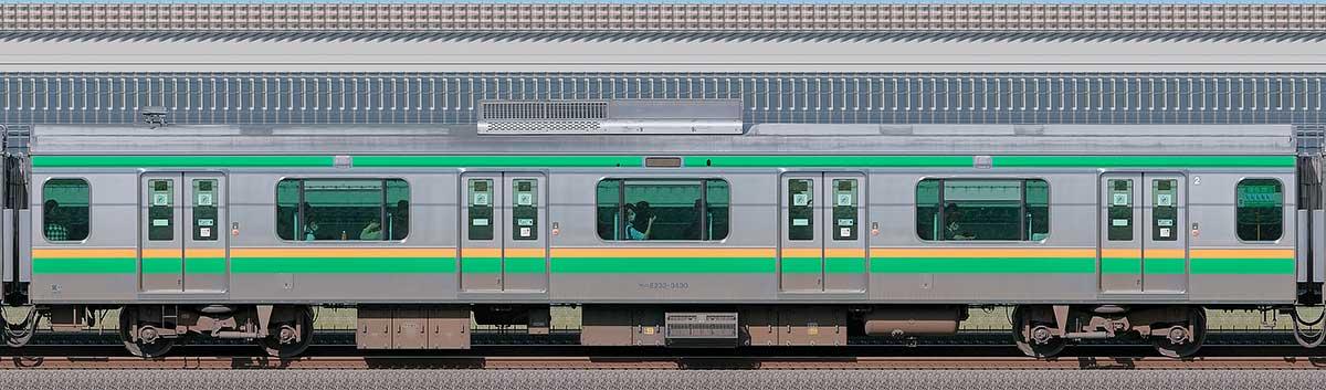 JR東日本E233系3000番台モハE232-3430山側の側面写真