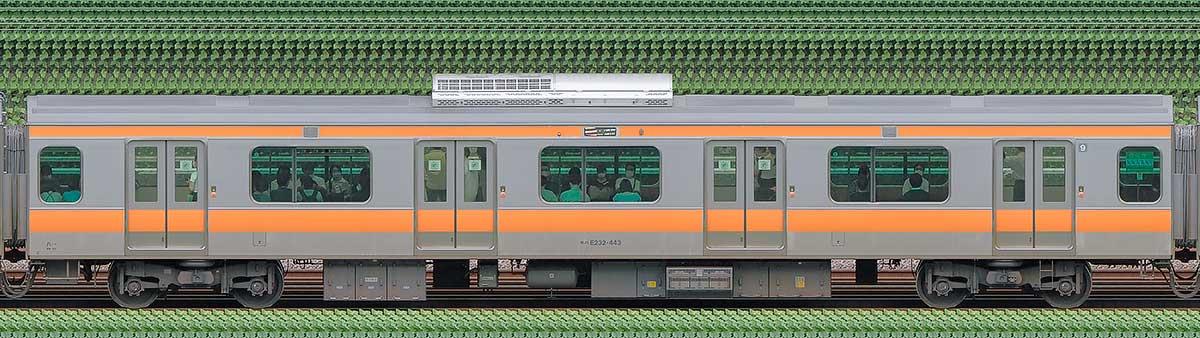 JR東日本E233系モハE232-443山側の側面写真