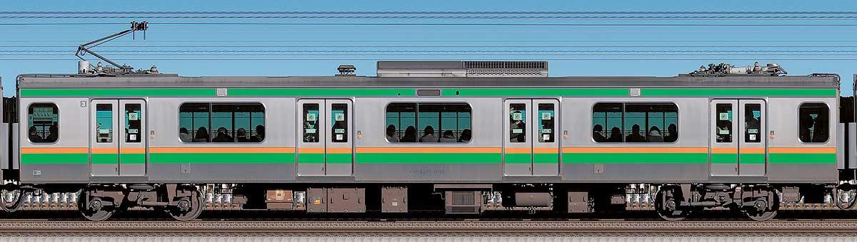 JR東日本E233系3000番台モハE233-3030海側の側面写真