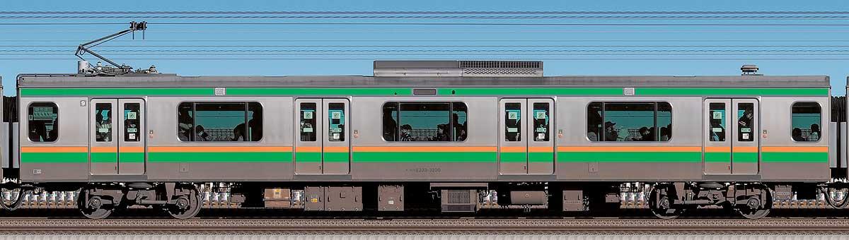JR東日本E233系3000番台モハE233-3230海側の側面写真