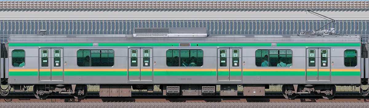 JR東日本E233系3000番台モハE233-3430山側の側面写真
