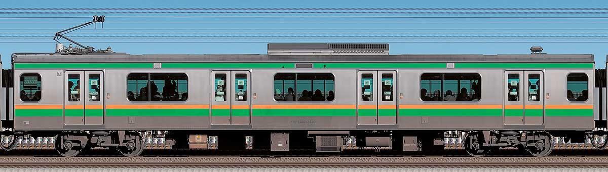 JR東日本E233系3000番台モハE233-3430海側の側面写真