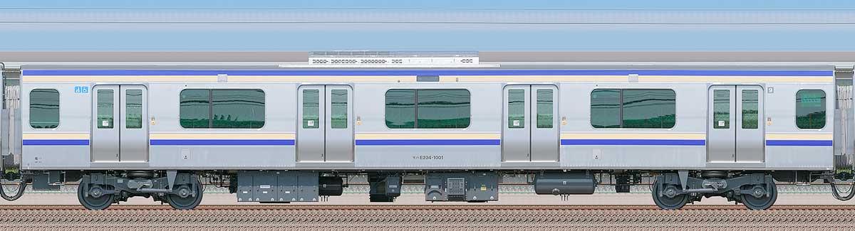 JR東日本E235系1000番台モハE234-1001山側の側面写真