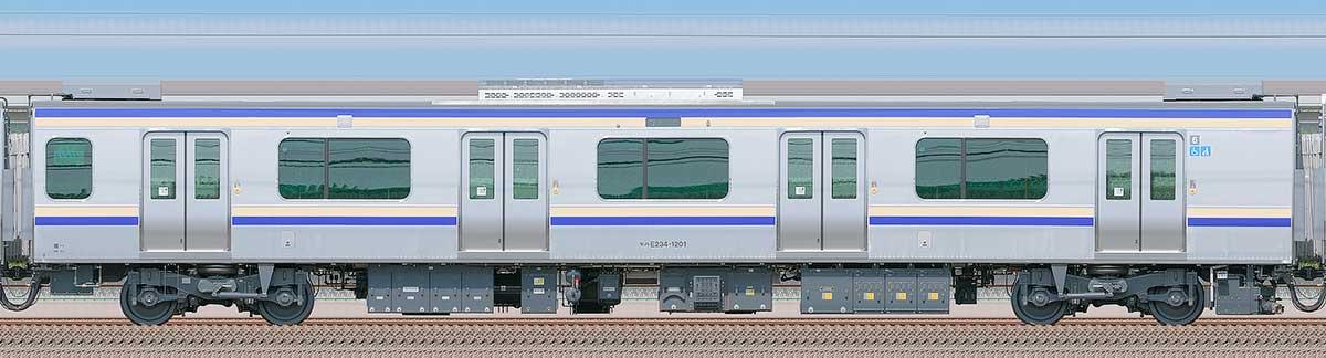 JR東日本E235系1000番台モハE234-1201山側の側面写真