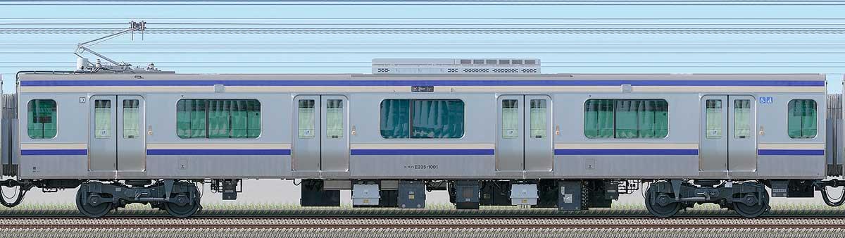 JR東日本E235系1000番台モハE235-1001海側の側面写真