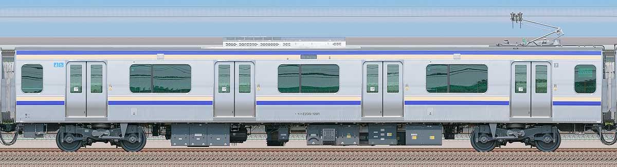 JR東日本E235系1000番台モハE235-1201山側の側面写真