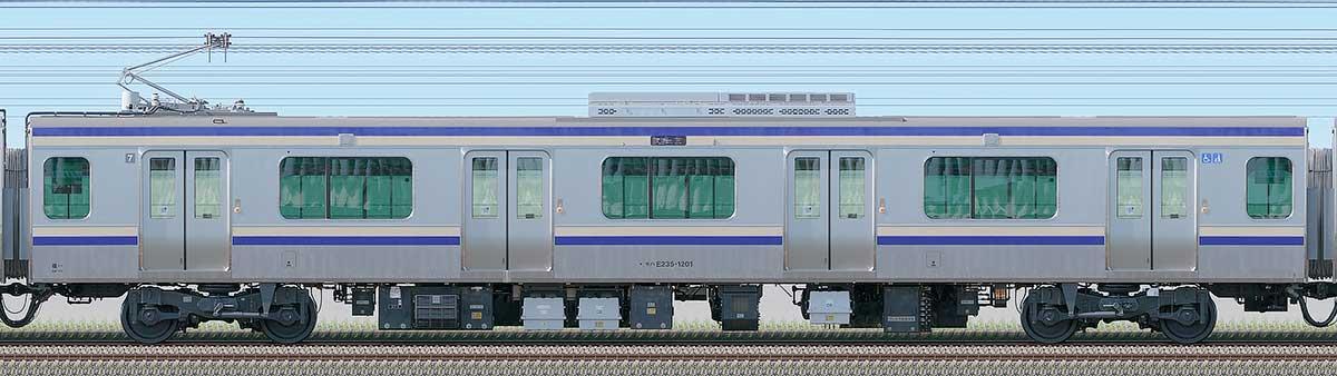JR東日本E235系1000番台モハE235-1201海側の側面写真
