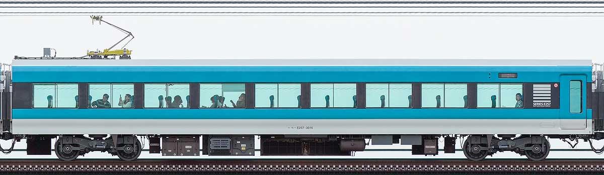 JR東日本E257系モハE257-3016山側の側面写真