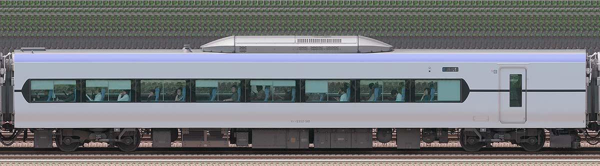 JR東日本E353系(量産先行車)モハE352-501山側の側面写真
