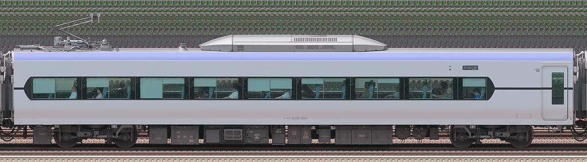 JR東日本E353系(量産先行車)モハE353-2001山側の側面写真