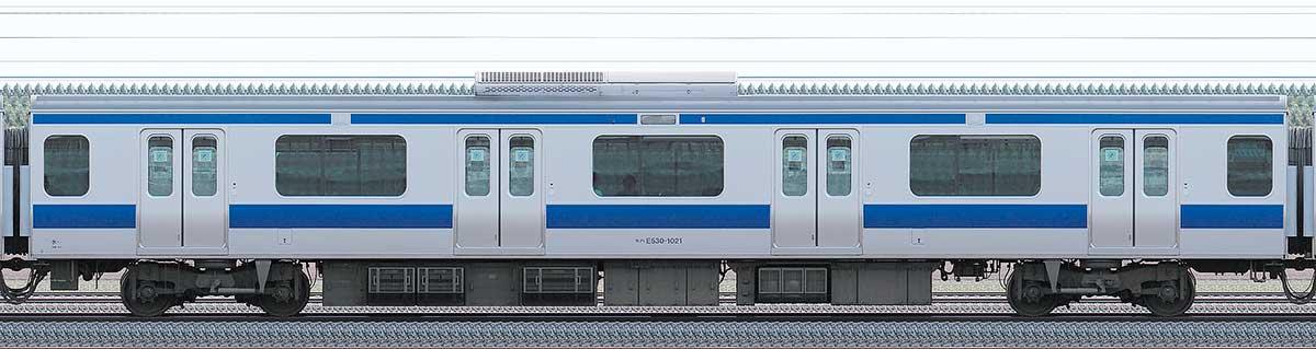 JR東日本E531系モハE530-1021山側の側面写真