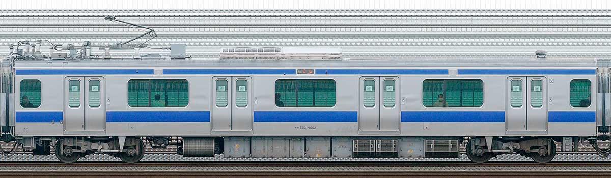 JR東日本E531系モハE531-1002山側の側面写真