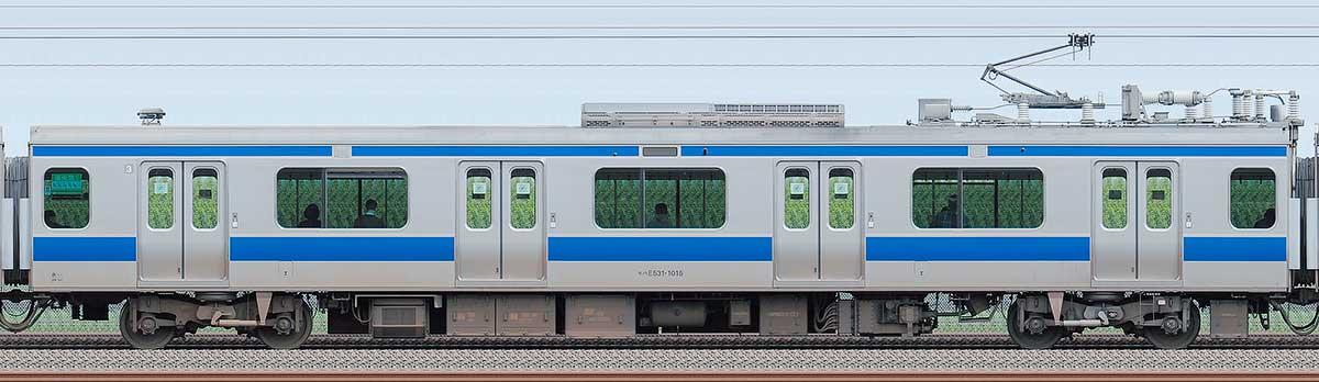 JR東日本E531系モハE531-1015海側の側面写真