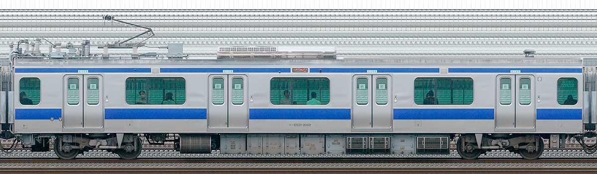 JR東日本E531系モハE531-2002山側の側面写真