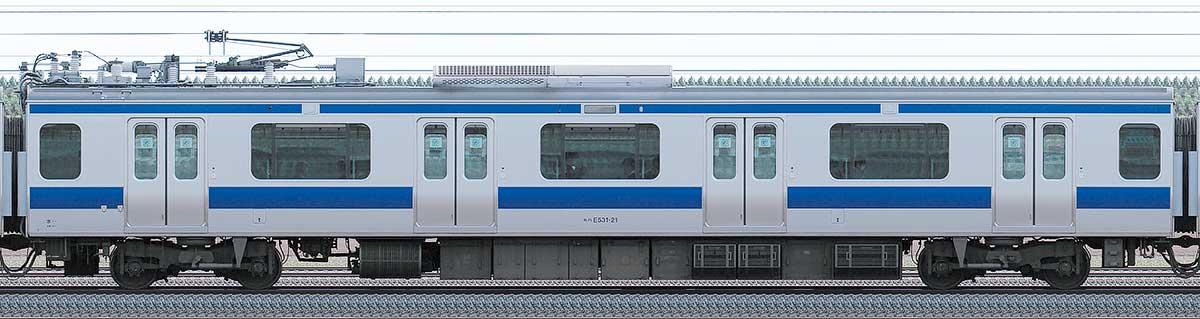 JR東日本E531系モハE531-21山側の側面写真