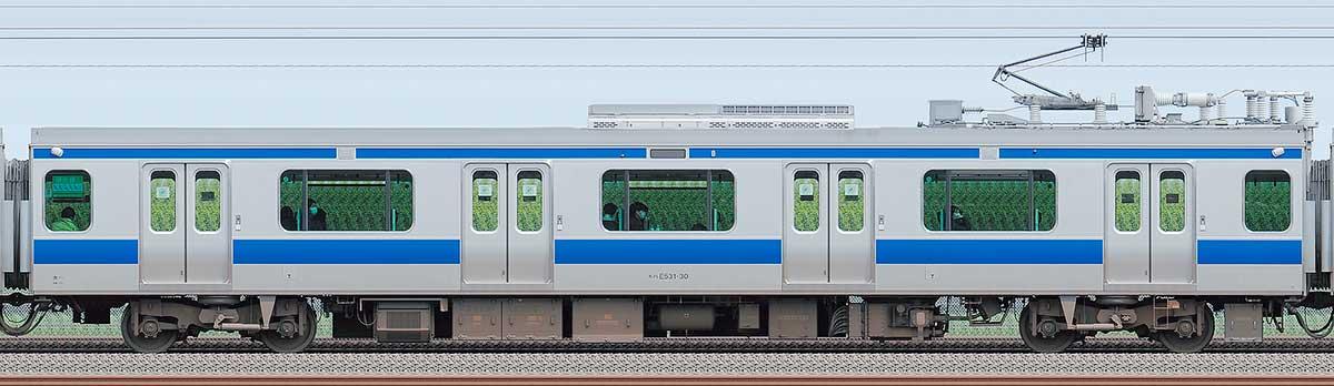 JR東日本E531系モハE531-30海側の側面写真