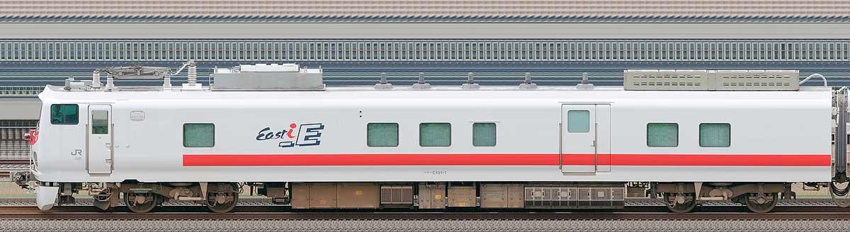 JR東日本E491系「East i-E」クモヤE491-1山側の側面写真