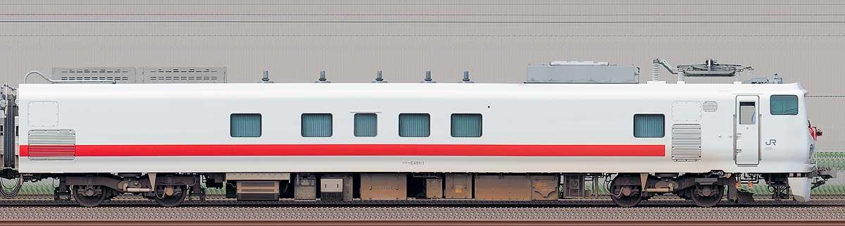 JR東日本E491系「East i-E」クモヤE491-1海側の側面写真