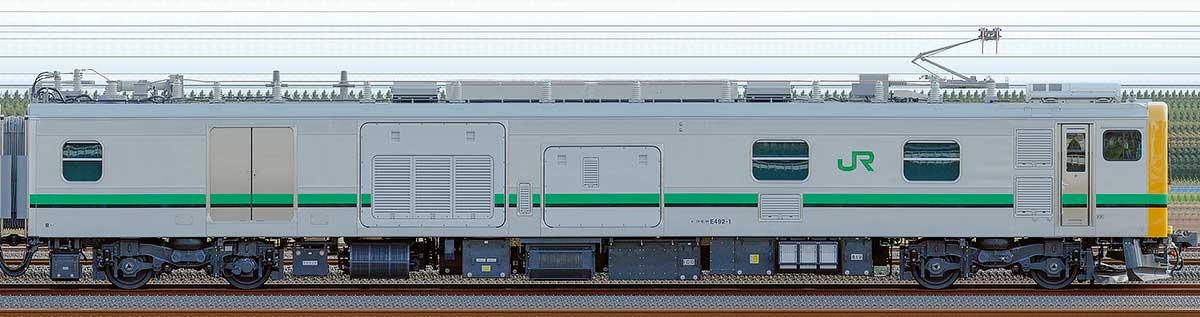JR東日本E493系クモヤE492-1山側の側面写真
