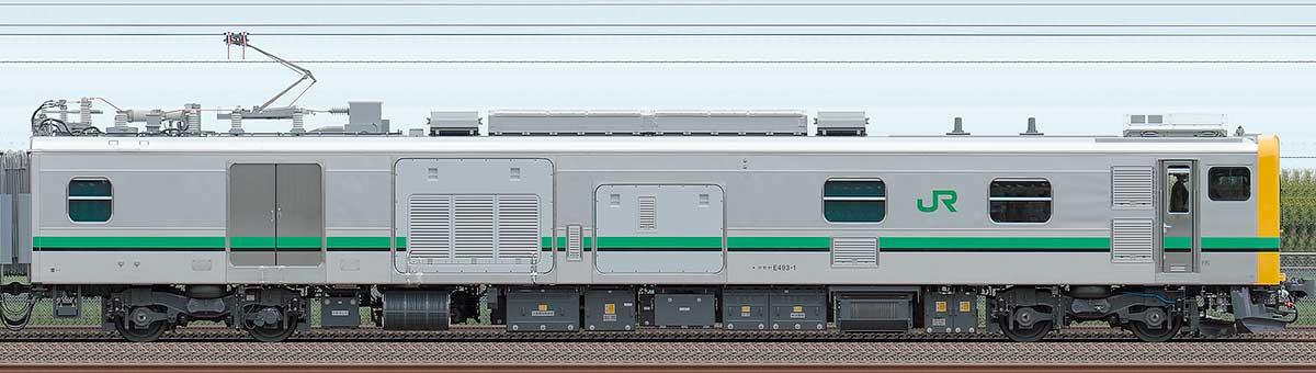 JR東日本E493系クモヤE493-1海側の側面写真