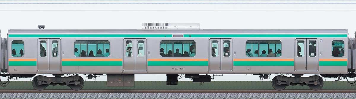 JR東日本E231系サハE231-1081山側の側面写真