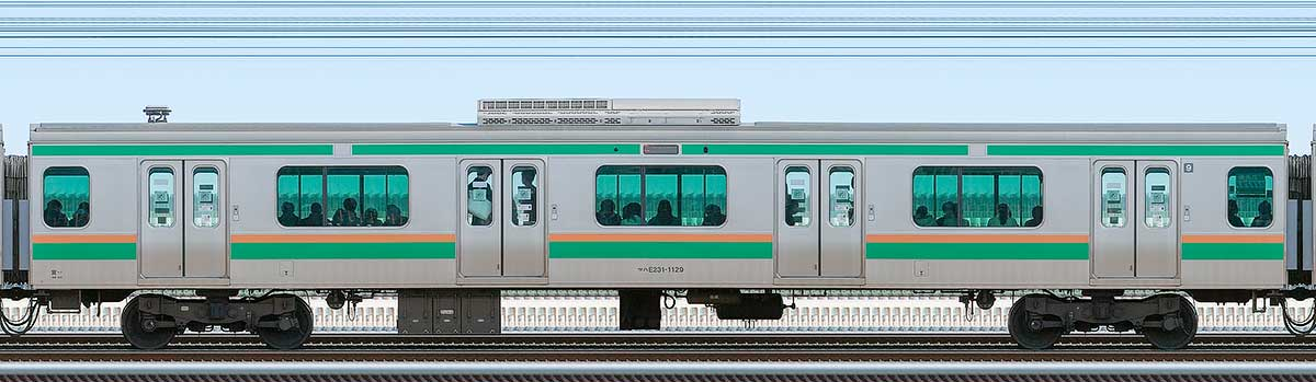 JR東日本E231系サハE231-1129山側の側面写真