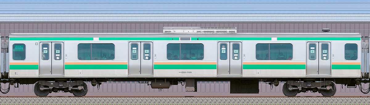 JR東日本E231系サハE231-1129海側の側面写真