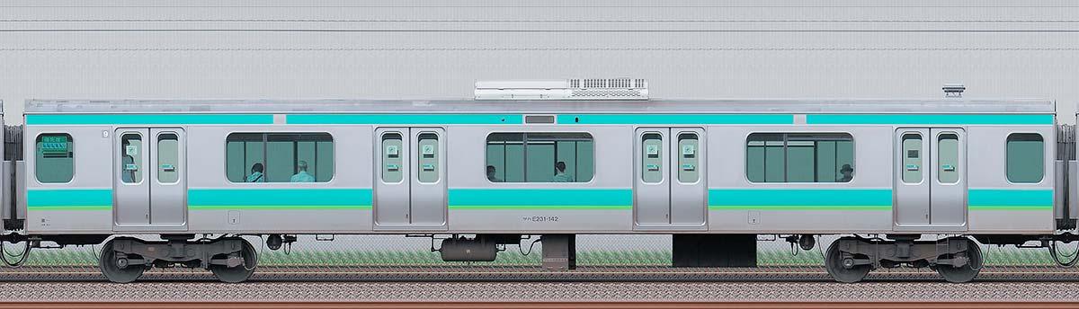 JR東日本E231系サハE231-142海側の側面写真