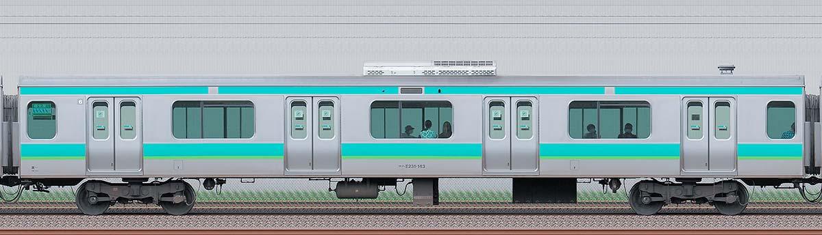 JR東日本E231系サハE231-143海側の側面写真