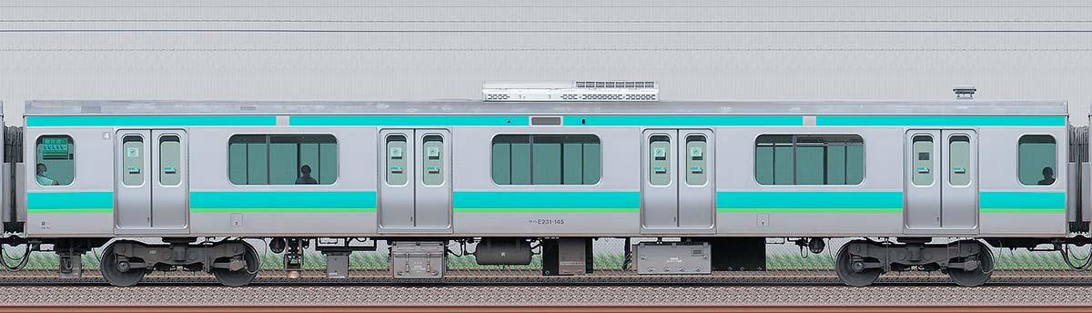 JR東日本E231系サハE231-145(線路設備モニタリング装置搭載車)海側の側面写真