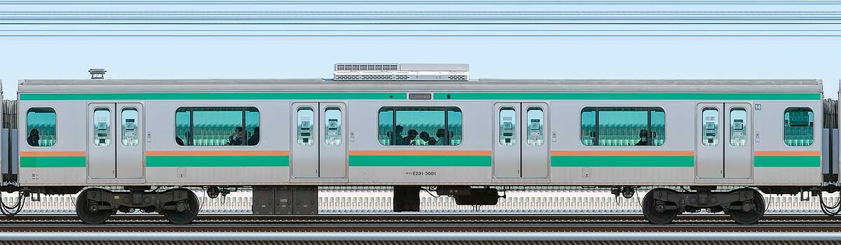 JR東日本E231系サハE231-3001山側の側面写真