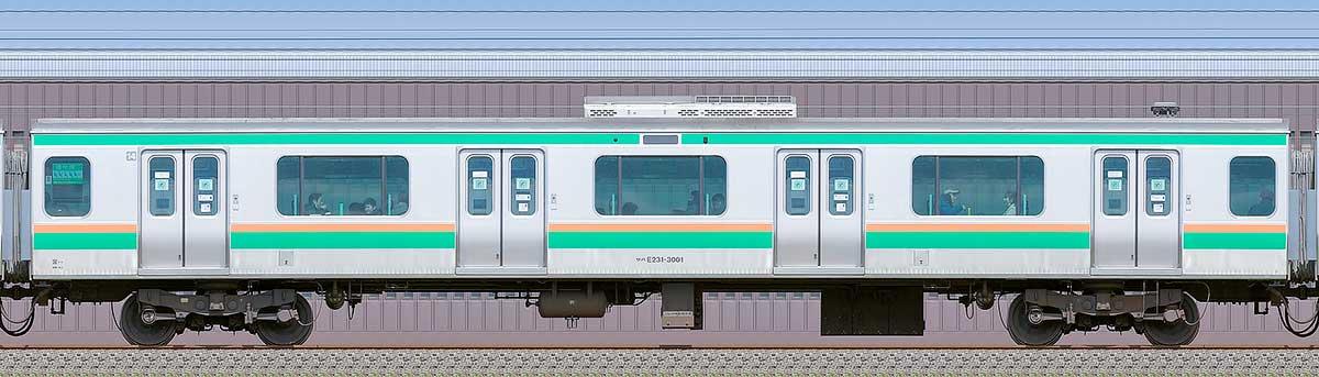 JR東日本E231系サハE231-3001海側の側面写真
