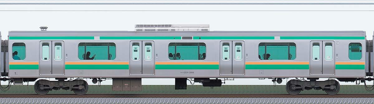 JR東日本E231系サハE231-3062山側の側面写真